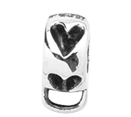 Prerogatives Sterling Heart Bead with Loop forClick-on Charm