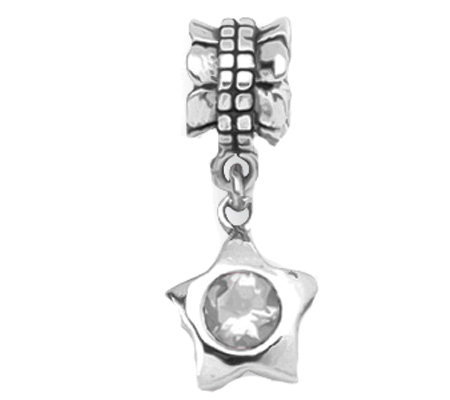 Prerogatives Sterling Cubic Zirconia Star Dangle Bead
