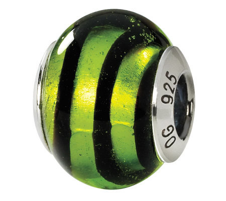 Prerogatives Sterling Green Swirls Italian Murano Glass Bead