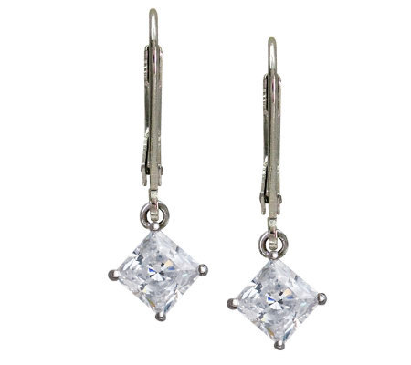 Diamonique 2 ct tw Princess Cut Lever Back Earrings