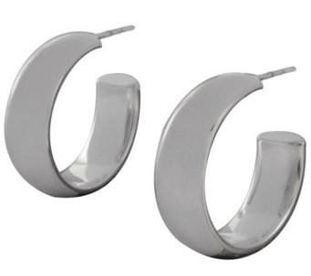 "UltraFine Silver 1"" Polished Round Hoop Earrings - J113938"