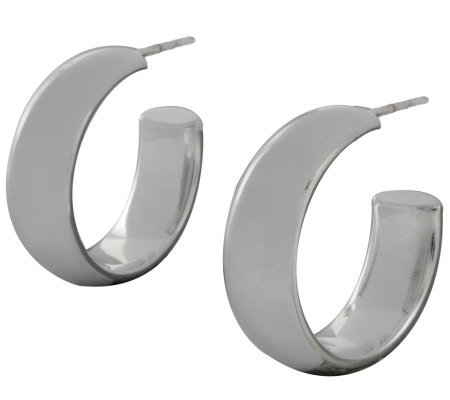"UltraFine Silver 1"" Polished Round Hoop Earrings"