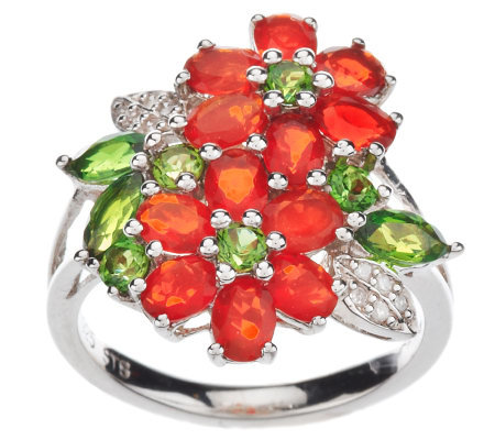 1.85 ct tw Fire Opal & Chrome Diopside Sterling Ring