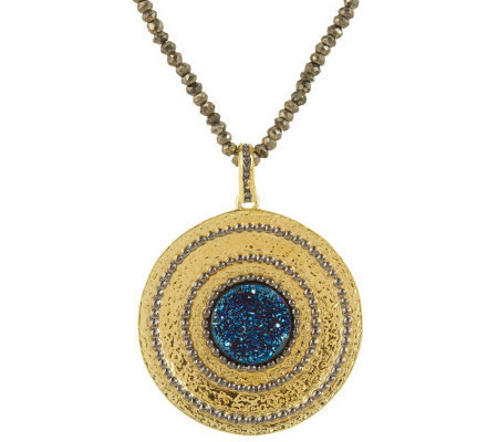Veronese 18K CladEtrusca Drusy Quartz Pendant with Pyrite Necklace