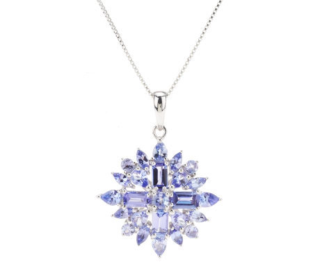 2.75 ct tw Tanzanite ClusterSterling Pendant with Chain