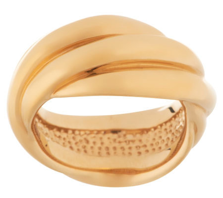 Bold High Polished Rolling Style Band Ring 14K Gold