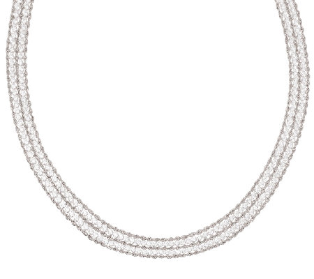 "Vicenza Silver Sterling 18"" Multi-strand Diamonique & Rope Necklace"