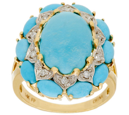 Sleeping Beauty Turquoise & Diamond Cluster Ring, 14K Gold, 1/10 ct tw