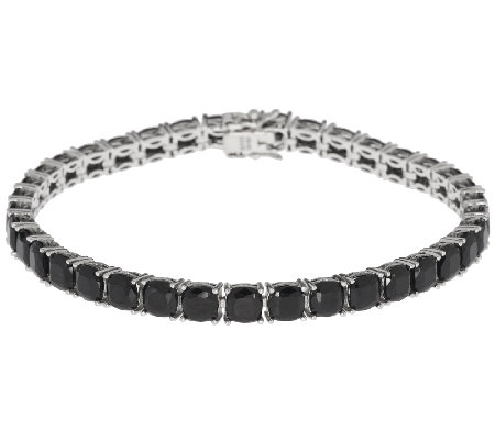 "19.00 ct tw Black Spinel Cushion Cut 8"" Sterling Tennis Bracelet"