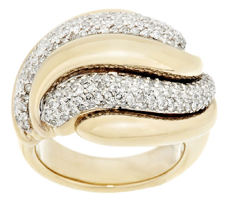 14K Gold Bold Polished 1.20 ct tw Diamond Swirl Ring