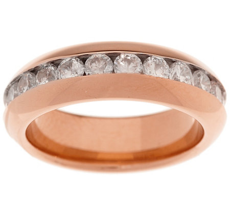 Stainless Steel Channel Set Crystal Eternity Band