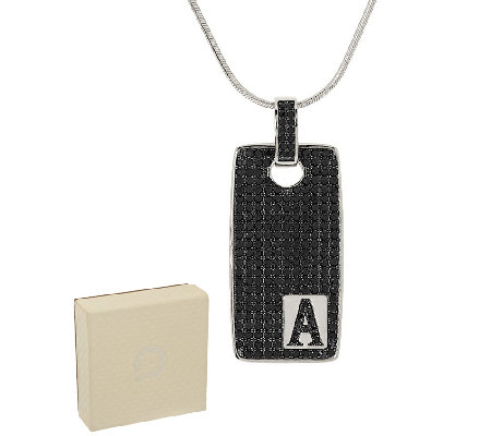 White Bronze 3.50 cttw Black Spinel Initial Tag Necklace by Bronzo Italia