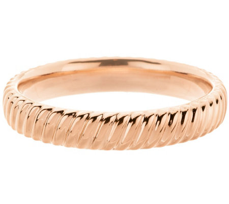 Oro Nuovo Large Polished Ribbed Twist Round Bangle 14K