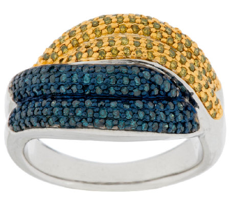 Pave' Blue & Yellow Diamond Ring, Sterling, 3/4 ct tw by Affinity