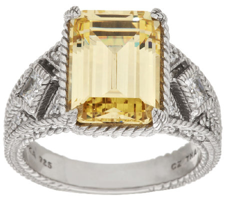 Judith Ripka Sterling 8.70 ct tw Yellow & White Diamonique Ring
