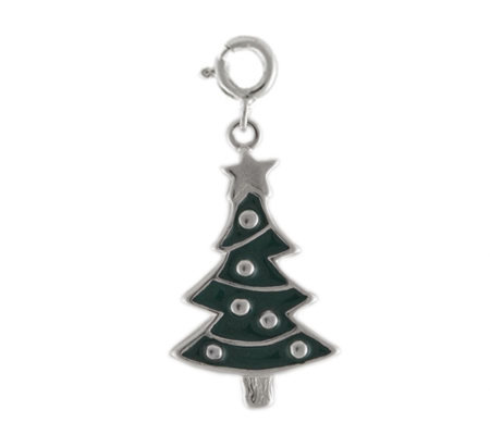 Sterling Christmas Tree Charm with Enamel
