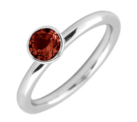 Simply Stacks Sterling 5mm Garnet SolitaireStackable Ring