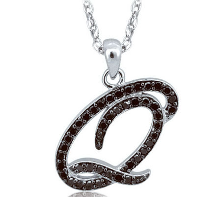 Diamond Black Initial Pendant, Sterling, 1/4ct,by Affinity