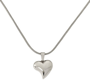 "Stainless Steel Heart Pendant with 18"" Chain - J309738"