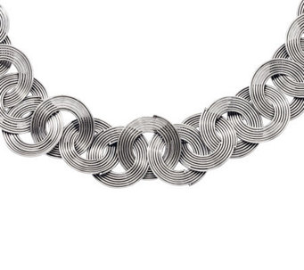 "Stainless Steel 19"" Interlocking Wire Circle Necklace - J311238"