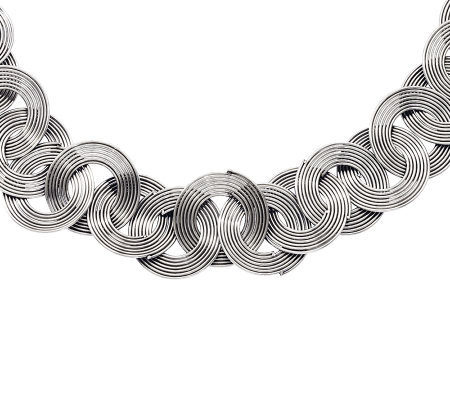 "Stainless Steel 19"" Interlocking Wire Circle Necklace"