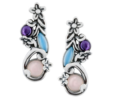 Carolyn Pollack Sterling Silver Floral Pastel D rop Earrings