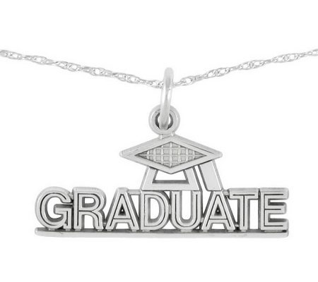 "Polished Graduate Pendant w/ 18"" Chain, 14K"