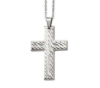 "Forza Men's Stainless Steel Grooved Cross Pendant w/ 24"" Chai - J313138"