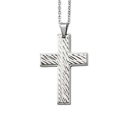 "Forza Men's Stainless Steel Grooved Cross Pendant w/ 24"" Chai"
