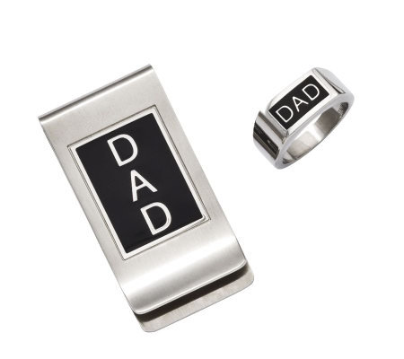 "Forza Men's Stainless Steel Black ""DAD"" Money Clip & Ring Set"