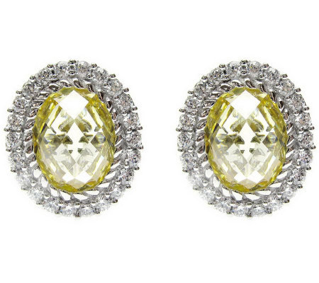 Judith Ripka Sterling Oval Yellow Diamonique Halo Earrings