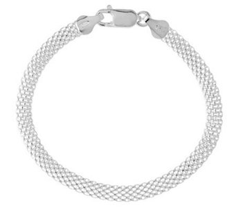 "Sterling 7"" Polished Mesh Bracelet - J314638"