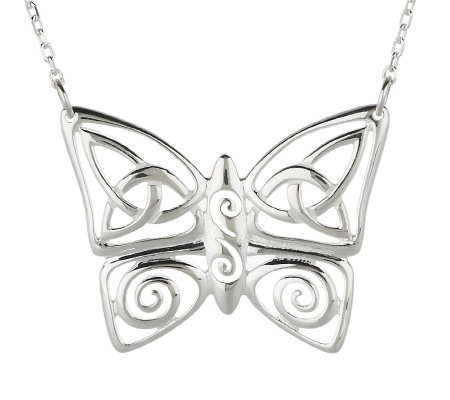 """As Is"" JMH Sterling Silver Celtic Butterfly Pendant"