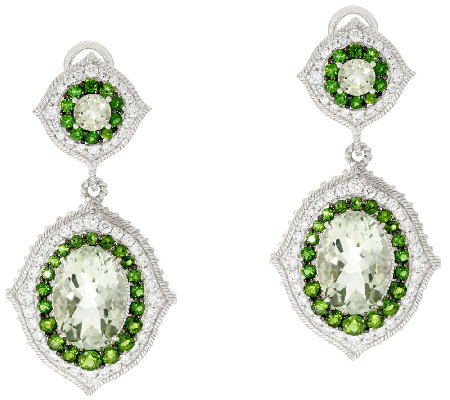 Judith Ripka Sterling Fluted 13.0 cttw Gemstone Drop Earrings