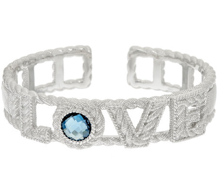 Judith Ripka Sterling London Blue Topaz 2.70ct Love Cuff Bracelet