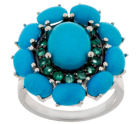 """As Is"" Graziela Gems Sleeping Beauty Turquoise & Emerald Ring"