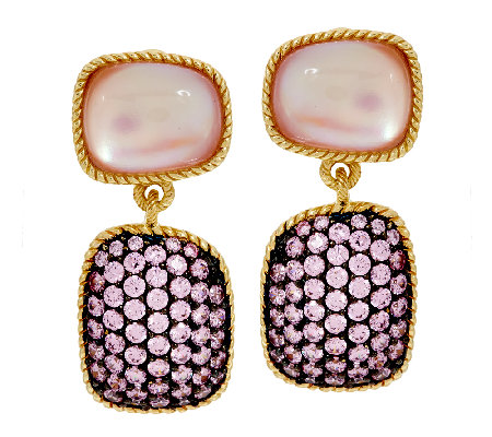 Judith Ripka Sterling & 14K Clad Freeform Pink Doublet & Pave' Earrings
