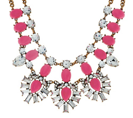 BaubleBar Crystal Feather Bib Necklace