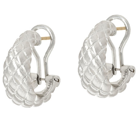 Michael Dawkins Sterling Silver Quilt Texture Omega Back Hoop Earrings