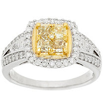 """As Is"" Cushion Cut Canary Diamond Ring, 14K, 1cttw by Affinity - J323638"