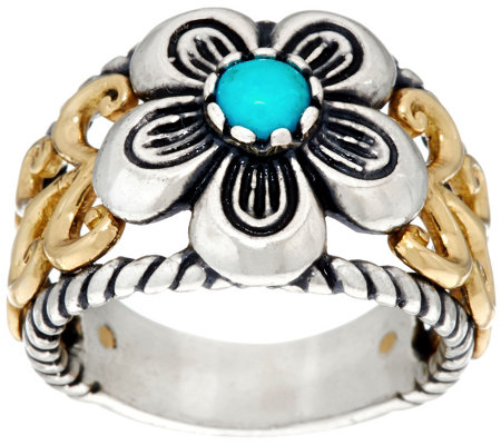 Sterling Brass Turquoise Flower Ring by American West