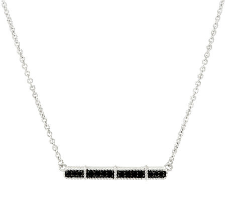 Judith Ripka Sterling Black Spinel Bar Necklace
