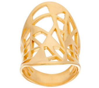 """As Is"" Bronze Concave Oval Geometric Cut-Out Ring by Bronzo Italia - J329038"