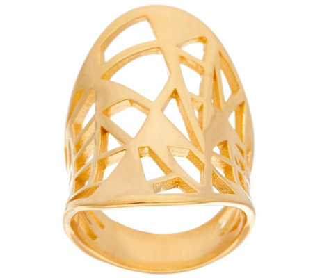 """As Is"" Bronze Concave Oval Geometric Cut-Out Ring by Bronzo Italia"