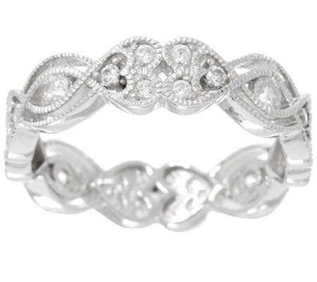 Diamonique Heart Eternity Band Ring, Sterling or 14K Clad