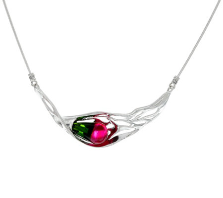 "Hagit Sterling Silver Multi-color Glass 18"" Necklace"