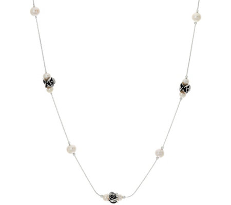 "Sterling Rose & Cultured Pearl Station 24"" Necklace by Or Paz"