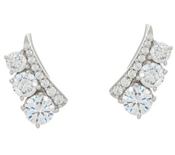 Diamonique Three Stone Ear Climber Earrings, Sterling - J330938