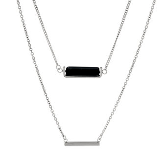 Stainless Steel Double Layer Horizontal Bar Necklace - J331238