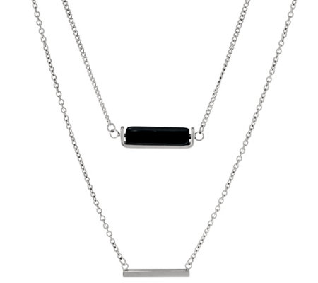 Stainless Steel Double Layer Horizontal Bar Necklace